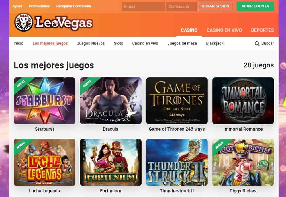 Juegos de casino de Leovegas