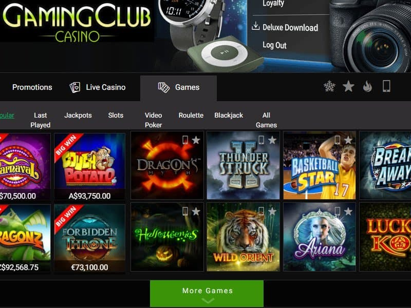 Máquinas tragamonedas, slots e tragaperras de GamingClub
