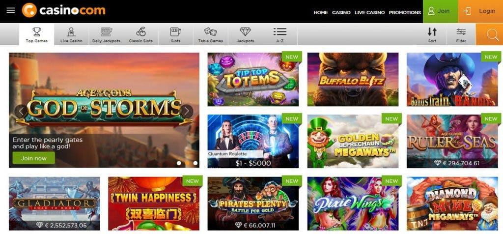 Máquinas tragamonedas, slots e tragaperras de Casino.com