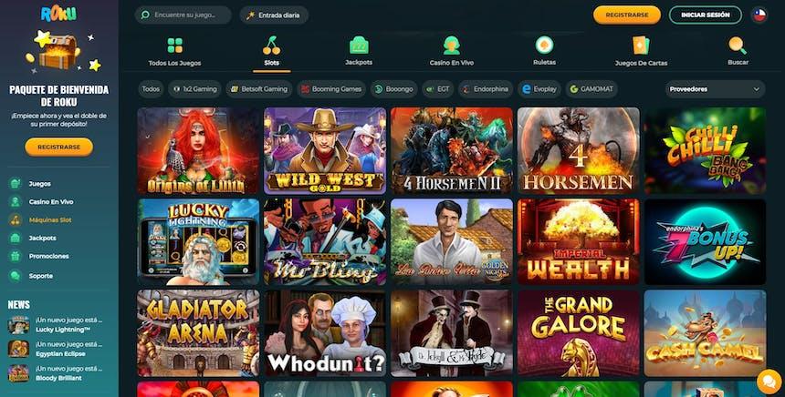 Máquinas tragamonedas, slots e tragaperras de Roku Casino