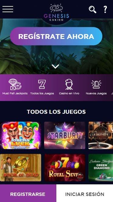 Aplicacion movil de Genesis Casino